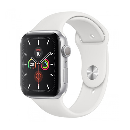 APPLE WATCH SERIES 5 GPS 44MM SILVER/WHITE SPORT BAND