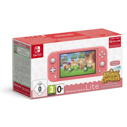 NINTENDO CONSOLA SWITCH LITE CORAL + ANIMAL CROSSING + 3M
