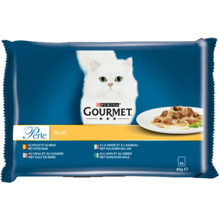 PURINA GOURMET PERLE DUO CARNS 4X85GR