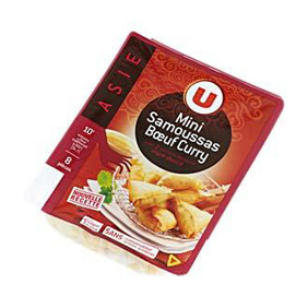 U MINI SAMOSES BOU CURRY+SALSA X8 240GR
